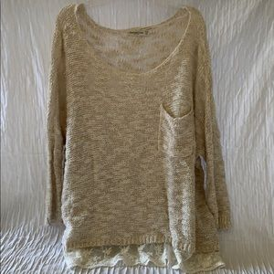 Loose fitting knitted w/ lace sweater
